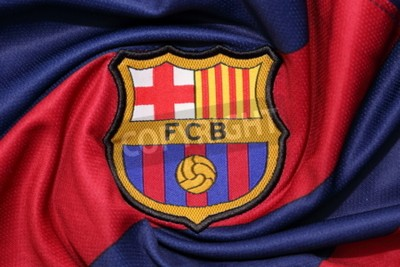 Poster BANGKOK, THAILAND -AUGUST 30, 2015: the logo of Barcelona football club on an official jersey on August 30, 2015 in Bangkok Thailand.