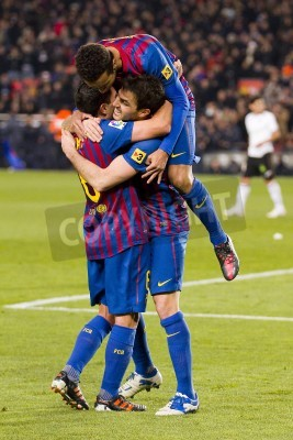 Poster BARCELONA -    Barcelona players celebrate a goal during the Spanish Cup match between FC Barcelona and Valencia, final score 2-0,   in Camp Nou stadium, Barcelona, Spain