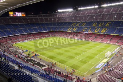 Poster BARCELONA - DECEMBER 16: View of Camp Nou stadium before the Spanish League match between FC Barcelona and Atletico de Madrid, final score 4 - 1, on December 16, 2012, in Barcelona, Spain