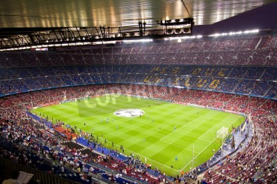Poster BARCELONA - SEPTEMBER 13: Crowd of people in Camp Nou stadium before the Champions League match between FC Barcelona and AC Milan, final score 2 - 2, on September 13, 2011, in Barcelona, Spain.