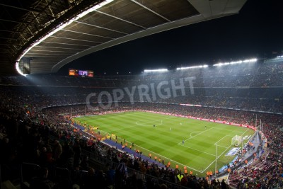 Poster BARCELONA, SPAIN - DECEMBER 13, 2010: Panoramic view of the Camp Nou, the stadium of Football Club Barcelona team, before the match FC Barcelona - Real Sociedad, final score 5 - 0.