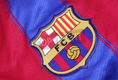 Poster Barcelona, Spain - January 28, 2012: The crest of Barcelona Football Club on an official jersey. FC Barcelona were founded in 1899.