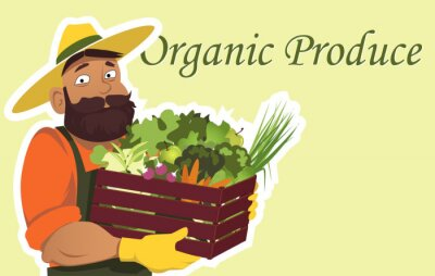 Poster Bearded farmer or gardener in a hat holding a wooden box filled with fresh vegetables and fruits, copy space on the right, EPS 8 vector illustration, no transparencies
