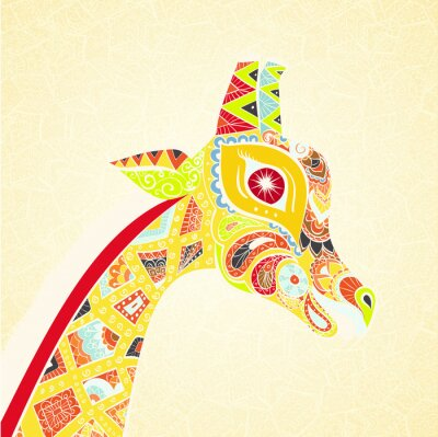 Poster Beautiful adult Giraffe. Hand drawn Illustration of ornamental giraffe. Colored giraffe on ornamental background.