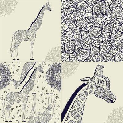 Poster Beautiful adult Giraffe. Hand drawn Illustration of ornamental giraffe. isolated giraffe on white background. Seamless pattern from an ornamental giraffe