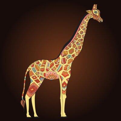 Poster Beautiful adult Giraffe in boho. Hand drawn Illustration of ornamental giraffe. Colored giraffe on ornamental background.