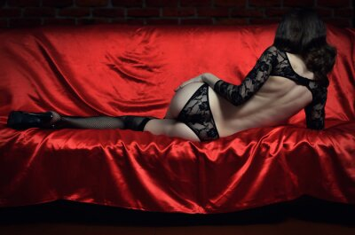 Poster Beautiful and sexy young woman in erotic lingerie and stockings
