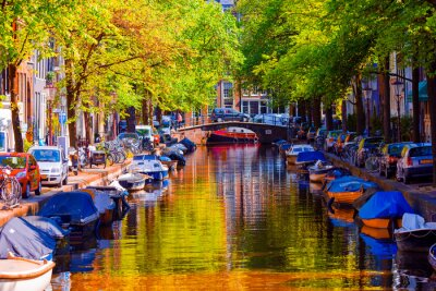Poster Beautiful canal in the old city of Amsterdam, Netherlands, North Holland province.