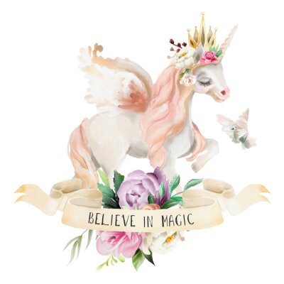 Poster Beautiful, cute, watercolor dreaming unicorn, pegasus with flowers, golden crown, floral bouquet, pigeon and ribbon with qoute isolated on white