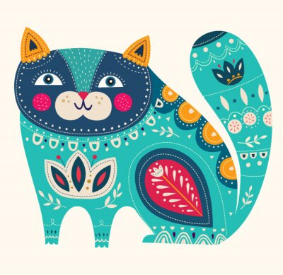 Poster Beautiful decorative vector cat in blue color