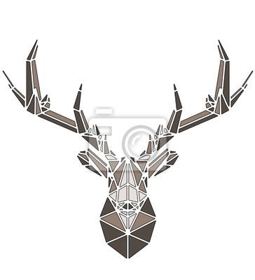 Poster Beautiful deer geometric triangle shape design