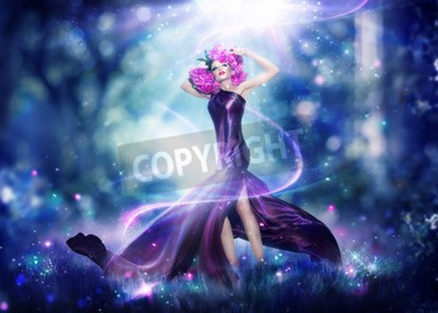 Poster Beautiful fantasy fairy woman, Fashion art portrait
