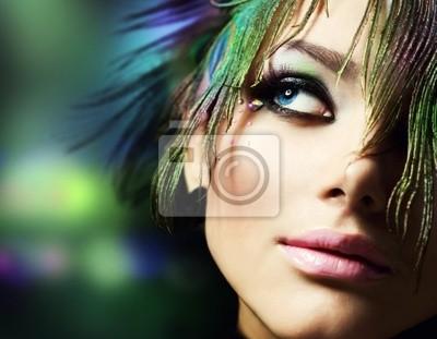 Beautiful Fashion Woman Face.Perfect Makeup
