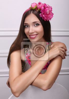 Poster beautiful girl with dark hair