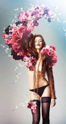 Poster beautiful sexy woman and big flowers