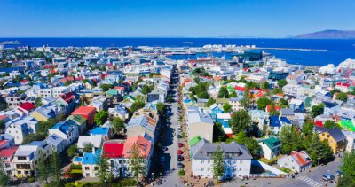 Poster Beautiful super wide-angle aerial view of Reykjavik, Iceland