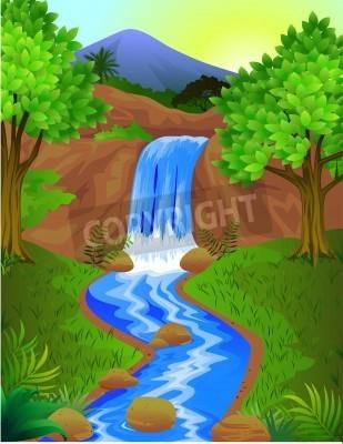 Poster Beautiful waterfall