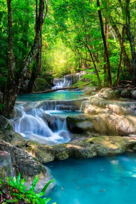 Poster Beautiful waterfall in Thailand tropical forest