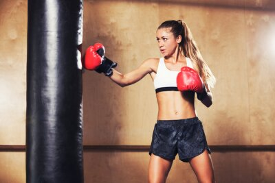 Poster Beautiful Woman Boxing with Red Gloves