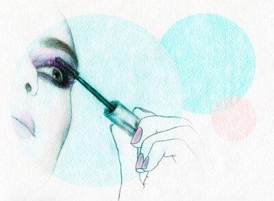 Poster Beautiful woman face . watercolor illustration