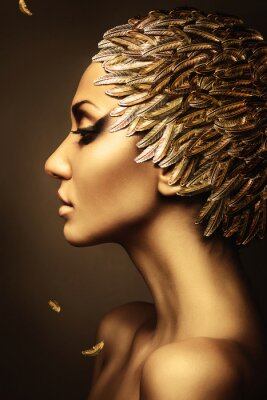 Poster beautiful woman with gold feather hat