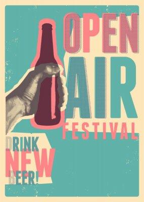 Poster Beer open air festival typographical vintage grunge pop-art style poster design. Retro vector illustration.