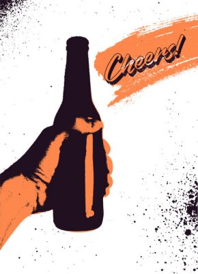 Poster Beer typographical vintage style grunge poster design. The hand holds a bottle of beer. Retro vector illustration.
