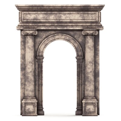 Poster Beige Marble Composite Arch Isolated on White