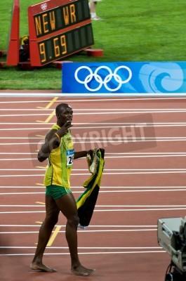 Poster Beijing, China - Aug 16: Sprinter Usain Bolt sets new 100 meter world record for men