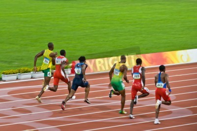 Poster Beijing, China - Aug 18 2008: Olympic champion Usain Bolt trails the pack before setting a new world record