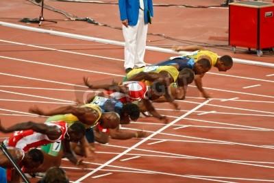 Poster Beijing, China ,Olympics - Aug 18 2008: 100 meter Sprint starting line, Start of Men
