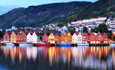 Poster Bergen night view Cityscape reflection