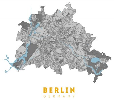 Poster Berlin map. Detailed poster city map Berlin. Germany