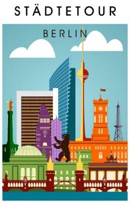 Poster Berlin Poster bunt mit wichtigen Sehenwürdigkeiten hochkant Silhouette Panorama