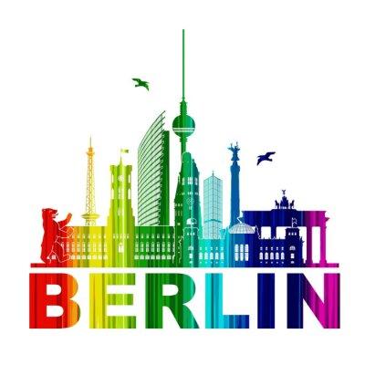 Poster Berlin Silhouette Umriss Wandtatoo Schattenriss Elemente Regenbogen Fernsehturm Bär Rathhaus Reichstag Brandenburger Tor Funkturm