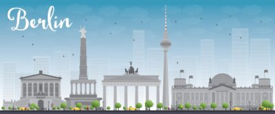 Poster Berlin skyline with grey building and blue sky.