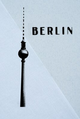 Poster Berlin Vintage postcard - tv tower and letters on abstract backg