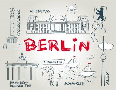 Poster Berlin, Wahrzeichen, illustration