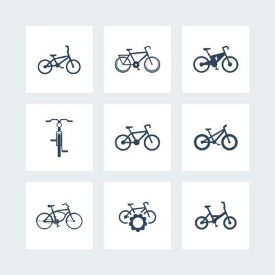 Poster bicycle, cycling, bike, electric bike, fat-bike simple icons, vector illustration
