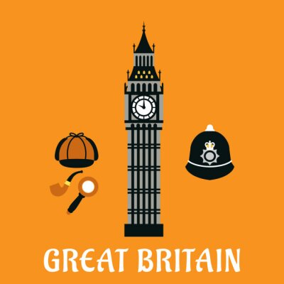 Poster Big Ben tower and other britain objects