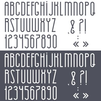 Poster Black and white alphabet,numbers and punctuation marks