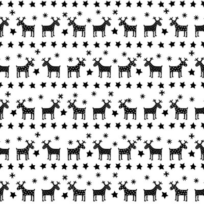 Poster Black and white seamless retro Christmas pattern - varied Xmas reindeers, stars and snowflakes. Happy New Year background. Vector design for winter holidays on white background.