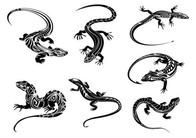 Poster Black lizards with tribal ornament