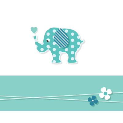 Poster blue baby boy elephant greeting card