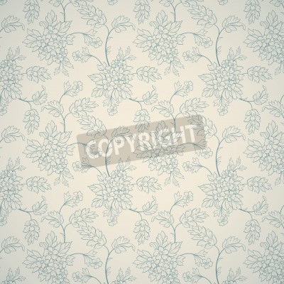 Poster Blue floral ornament on light background