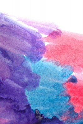 Poster Blue, purple, red abstract watercolors.