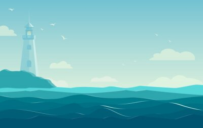 Poster blue sea background with waves and lighthouse. Vector Illustration