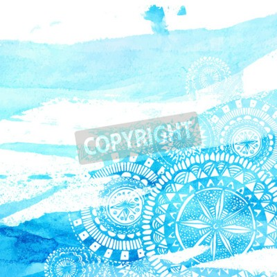 Poster Blue watercolor brush strokes with white hand drawn mandalas - round doodle Indian elements. Vector summer design.