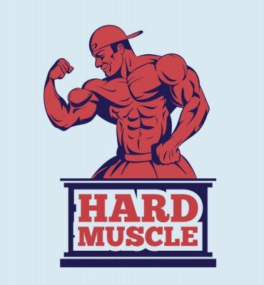 Poster bodybuilder fitness model posing logo . muscle man emblem