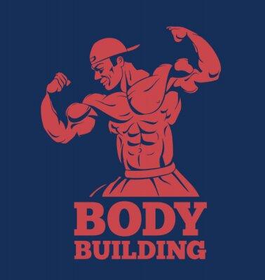 Poster bodybuilder muscle man fitness model posing logo. bodybuilder showing muscles bodybuilding emblem